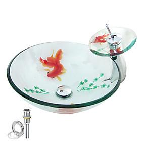 preiswerte Antik Aufsatzwaschtisch-bad waschbecken / bad wasserhahn / bad montagering modern - gehärtetes glas rundes behälter waschbecken combo
