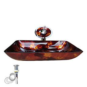 preiswerte Moderne Aufsatzwaschtische-Einbauring für Badezimmer / Wasserablass für die Küche Moderne - Hartglas Rechteckig Vessel Sink
