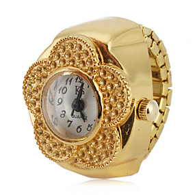 preiswerte Damenuhren-Damen Uhr Ringuhr Goldene Uhr Japanisch Quartz Legierung Gold Armbanduhren für den Alltag Analog damas Blume Modisch