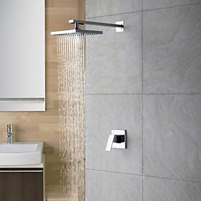 preiswerte Duscharmaturen-Duscharmaturen - Moderne Chrom Nur Dusche Keramisches Ventil Bath Shower Mixer Taps / 18-21 / Ja / Regendusche / Einzigen Handgriff Zwei Löcher