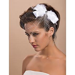 preiswerte One One Bridal®-Einschichtig Schnittkante Hochzeitsschleier Gesichts Schleier / Vogelkäfig Schleier mit Feder Tüll / Netzschleier