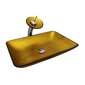 preiswerte Antik Aufsatzwaschtisch-Waschbecken für Badezimmer / Armatur für Badezimmer / Einbauring für Badezimmer Moderne - Hartglas Quadratisch Vessel Sink