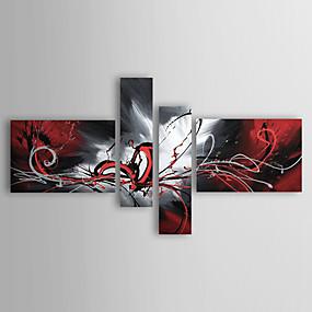 preiswerte Wand- & Ölbilder-Hang-Ölgemälde Handgemalte - Abstrakt Klassisch Traditionell Modern Fügen Innenrahmen / Vier Panele / Gestreckte Leinwand