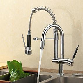 preiswerte Veredelte Küchenarmaturen-Küchenarmatur - Einloch Chrom Auszieh- / Ausziehdeck montiert zeitgenössisch / Einzelgriff Einloch