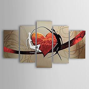 abordables Cuadros Abstractos-Pintados a mano pinturas al óleo modernos amantes abstractos corazón lienzo cinco paneles listos para colgar