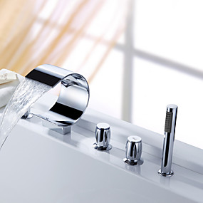 preiswerte Sprinkle® Armaturen-Sprinkle® - Wasserfall Badewanne Wasserhahn mit Handbrause (gebogene Form Design)