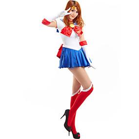 preiswerte Renovierung-Inspiriert von Sailor Moon Sailor Moon Anime Cosplay Kostüme Japanisch Cosplay Kostüme Patchwork Ärmellos Krawatte / Kleid / Handschuhe Für Damen / Strümpfe / Satin