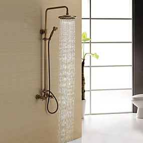cheap Bathroom-Shower Faucet - Antique Antique Brass Shower System Ceramic Valve Bath Shower Mixer Taps / Two Handles Three Holes