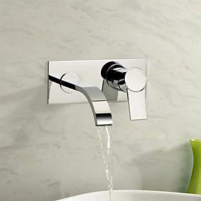 preiswerte Armaturen für Waschbecken-Waschbecken Wasserhahn - Wasserfall Chrom Wandmontage Zwei Löcher / Einzigen Handgriff Zwei LöcherBath Taps