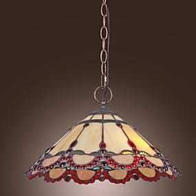 povoljno Lámpatestek-Tiffany privjesak svjetlo s 2 svjetla u toploj svjetlo crveni rub