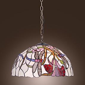 povoljno Lámpatestek-Tiffany privjesak svjetlo s dva svjetla u cvjetnim uzorkom vretenaca sjeni