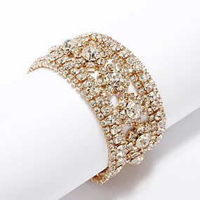 cheap Wedding & Party Jewelry-Crystal Cuff 18K Gold Plated Bracelet Jewelry Gold / Silver For Daily Casual Outdoor
