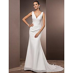 preiswerte The Wedding Store-- To Beautiful you-Eng anliegend V-Ausschnitt Hof Schleppe Satin mit Chiffon-Overlay Maßgeschneiderte Brautkleider mit Seiten-drapiert durch LAN TING BRIDE® / Rückenfrei / Rückenfrei