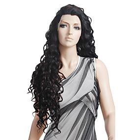 ราคาถูก Curly Lace Wigs-วิกผมสังเคราะห์ ลอนธรรมชาติ ภาษาสเปน Curly เก๋ไก๋และทันสมัย ความหงิก มีลูกไม้ด้านหน้า ผมปลอม ยาว สีดำ สังเคราะห์ 27 inch สำหรับผู้หญิง ดำ