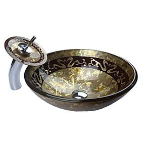 preiswerte Antik Aufsatzwaschtisch-Waschbecken für Badezimmer / Armatur für Badezimmer / Einbauring für Badezimmer Moderne - Hartglas Rundförmig Vessel Sink