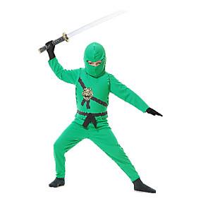 preiswerte Kostüme für Kinder-Soldat / Krieger Ninja Cosplay Kostüme Party Kostüme Kinder niños Geschlecht Halloween Karneval Kindertag Fest / Feiertage Satin niños Karneval Kostüme Patchwork / Kopfbedeckung / Handschuhe