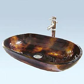 preiswerte Antik Aufsatzwaschtisch-Antique Rectangle gehärtetes Glas Waschbecken Set (Waschbecken und Wasserhahn)