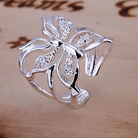 billige Engagement-Dame Forlovelsesring tommelfingerring Syntetisk Diamant Sølv Krystal Damer Luksus Åben Bryllup Daglig Smykker Sommerfugl Dyr Justerbar