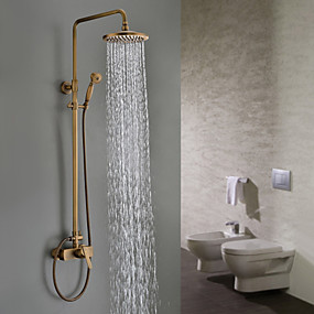 cheap Bathroom-Antique Brass 8-Inch Bathroom Shower Faucet System Rainfall Shower Head Wall-Mounted Dual Cross Handle Bathtub Shower Mixer Tap with Hand Sprayer