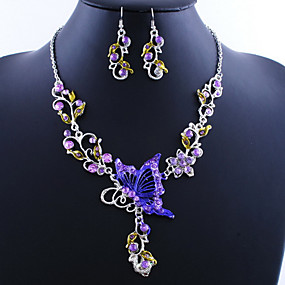 cheap Wedding-Women's Jewelry Set Drop Earrings Pendant Necklace Butterfly Ladies Vintage European Elegant everyday Earrings Jewelry Rainbow / Purple / Champagne For Wedding Party Special Occasion Birthday