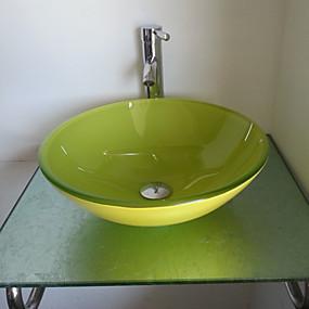 preiswerte Moderne Aufsatzwaschtische-Waschbecken Set, Jade Green gehärtetes Glas Waschbecken und Messing Bad Wasserhahn