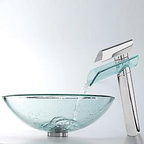 preiswerte Moderne Aufsatzwaschtische-Armatur für Badezimmer Moderne - Hartglas Rundförmig Vessel Sink