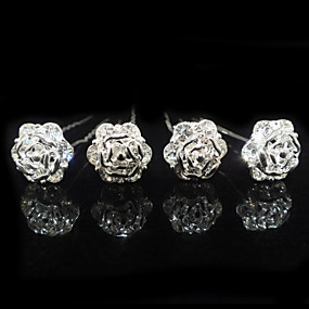 cheap Wedding & Party Jewelry-Nice Four Pieces Alloy Flower Shape Wedding Bridal Hairpins With Rhinestones