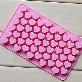 billige Bakeformer-55 hulls non-stick silikon sjokolade kake kjærlighet hjerteformet mold bakeware bakelegens is hjerte mold