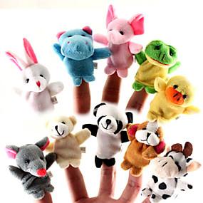 baratos Brinquedos-Histórias para Dormir Animal Fantoches de dedo Fantoches Fofinho Fofo Adorável Desenho Têxtil Silicone Felpudo Para Meninas Brinquedos Dom 10/12 pcs