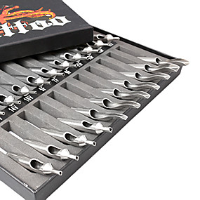 cheap Disposable Tubes & Tips-22Pcs Sizes Lot Stainless Steel Tattoo Nozzle Tips Kit Set