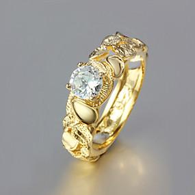 olcso Évforduló-Női Nyilatkozat gyűrű Arannyal bevont Sárga arany hölgyek Esküvő Parti Ékszerek / Strassz
