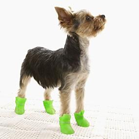 preiswerte Vorräte für Hund-Hunde Stiefel / Schuhe für Hunde Regenstiefel Wasserdicht Einheitliche Farbe nette Art Für Haustiere Silikon Gummi PVC Schwarz