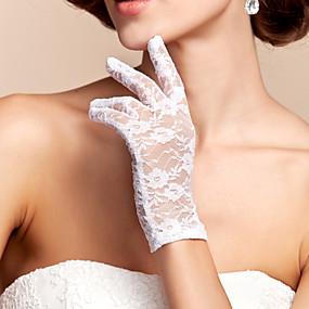 preiswerte Hochzeitshandschuhe-Spitze / Polyester Handgelenk-Länge Handschuh Klassisch / Brauthandschuhe Mit Einfarbig