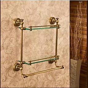 preiswerte Meist Verkaufte-Badezimmer Regal Beste Qualität Antike Messing / Glas 1 Stück - Hotelbad