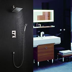 preiswerte Armaturen-Duscharmaturen - Moderne Gebürsteter Nickel Wandmontage Keramisches Ventil Bath Shower Mixer Taps / Messing / Einhand Drei Löcher