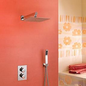 preiswerte Armaturen-Duscharmaturen - Moderne Chrom Wandmontage Keramisches Ventil Bath Shower Mixer Taps / Messing / Zwei Griffe Drei Löcher
