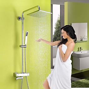 preiswerte Armaturen-Duscharmatur - Modernes Chrom-Duschsystem Keramikventil / aus Messing / zwei Griffe, drei Löcher, Duschmischbatterien