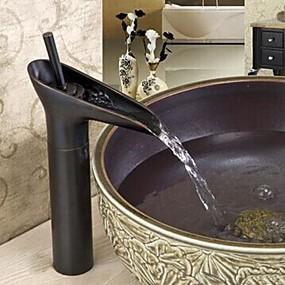 preiswerte Renovierung-Waschbecken Wasserhahn - Wasserfall Öl-riebe Bronze Mittellage Ein Loch / Einhand Ein LochBath Taps