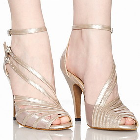cheap 11-11 Sale-Women's Dance Shoes PU Leather / Satin Latin Shoes / Salsa Shoes Buckle Sandal Customized Heel Customizable Grey / Nude / Black / EU41
