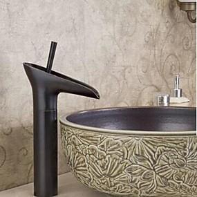 baratos Torneiras de Banheiro-torneira da cachoeira da pia do banheiro de bronze esfregada a óleo centerset um furo / alça única