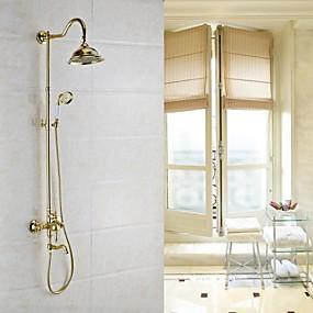 preiswerte Antikmessing Series-Duscharmaturen - Antike Antikes Messing Wandmontage Keramisches Ventil Bath Shower Mixer Taps