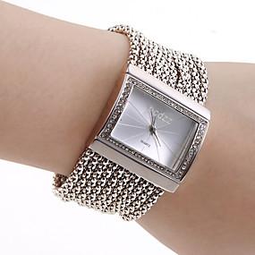 preiswerte Damenuhren-Damen damas Uhr Luxus-Armbanduhren Armband-Uhr Quadratische Uhr Japanisch Quartz Kupfer Silber Armbanduhren für den Alltag Analog Luxus Glanz Modisch Elegant Golden Silber / Edelstahl / Ein Jahr