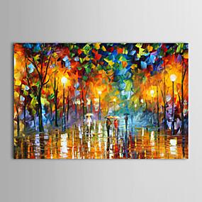 povoljno Slike krajolika-Hang oslikana uljanim bojama Ručno oslikana - Pejzaž Tradicionalno Moderna Uključi Unutarnji okvir / Prošireni platno