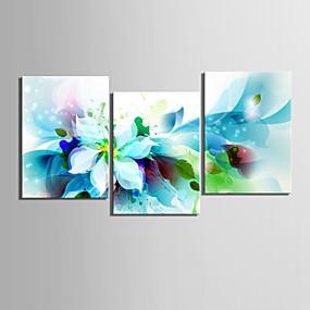 preiswerte Aufgespannte Leinwandrucke-Druck Gerollte Leinwand - Botanisch Blumenmuster / Botanisch Klassisch Realismus Drei Paneele Kunstdrucke