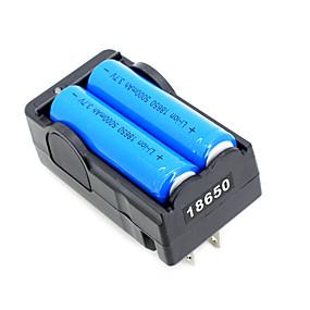 preiswerte Unterhaltungselektronik-3.7V 5000mAh Wiederaufladbar Li-Ion 18650 Batterie Mit Ladegerät 2 pcs