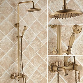 preiswerte Meist Verkaufte-Duscharmaturen - Antike Duschsystem Keramisches Ventil Bath Shower Mixer Taps / Messing / Einhand Drei Löcher