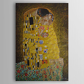 cheap Abstract Paintings-Hand-painted Oil Painting The Kiss by Gustav Klimt With Stretched Frame