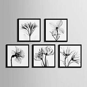 preiswerte Art-Gerahmtes Leinenbild Gerahmtes Set - Blumenmuster / Botanisch PVC Darstellung Wandkunst