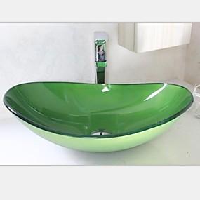 preiswerte Waschschalen und Aufsatz-Waschbecken-zeitgenössische grüne ovale Form aus gehärtetem Glas Waschbecken mit Wasserhahn Set Waschbecken Combo