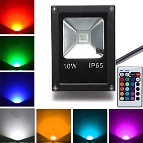 billige Flomlys-1pc 10 W 800 lm 1 LED perler Høyeffekts-LED Fjernstyrt RGB 85-265 V